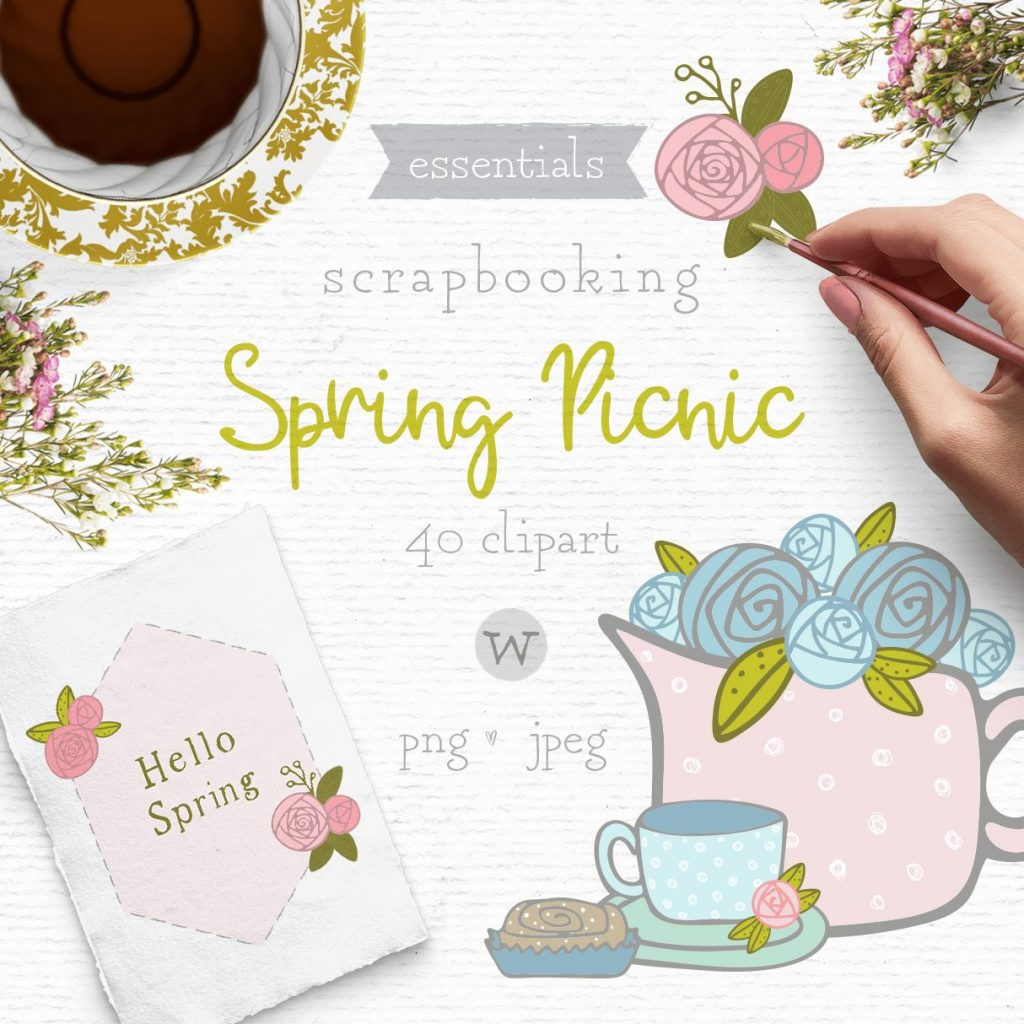 Whimsical shabby chic clipart perfect for scrapbooking projects