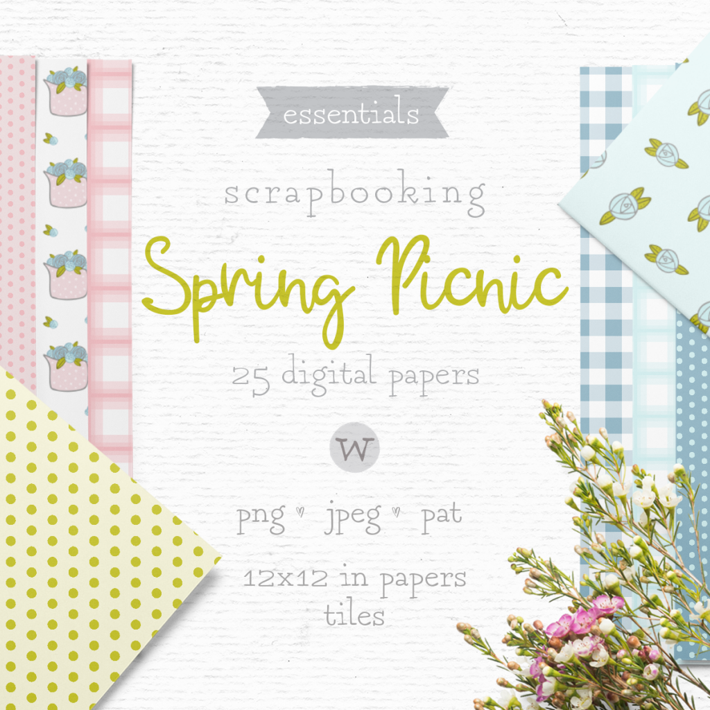 Shabby Chic digital papers for papercrafting