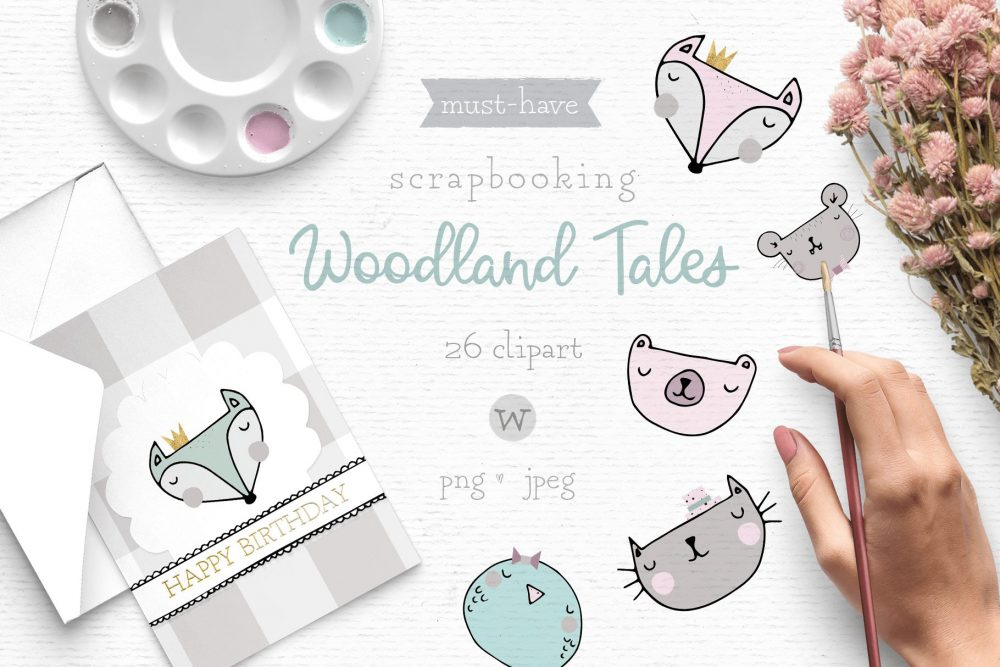 Cute clipart with woodland animals