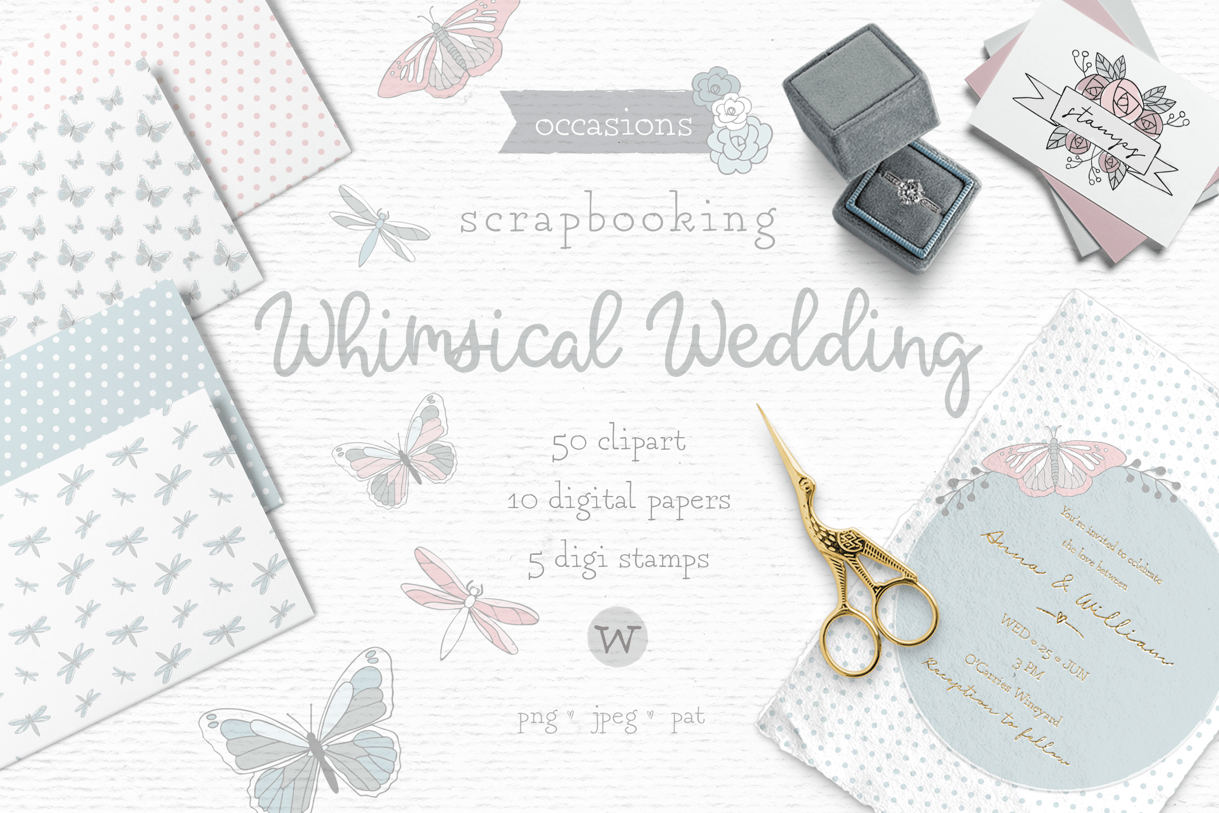 Whimsy wedding clipart