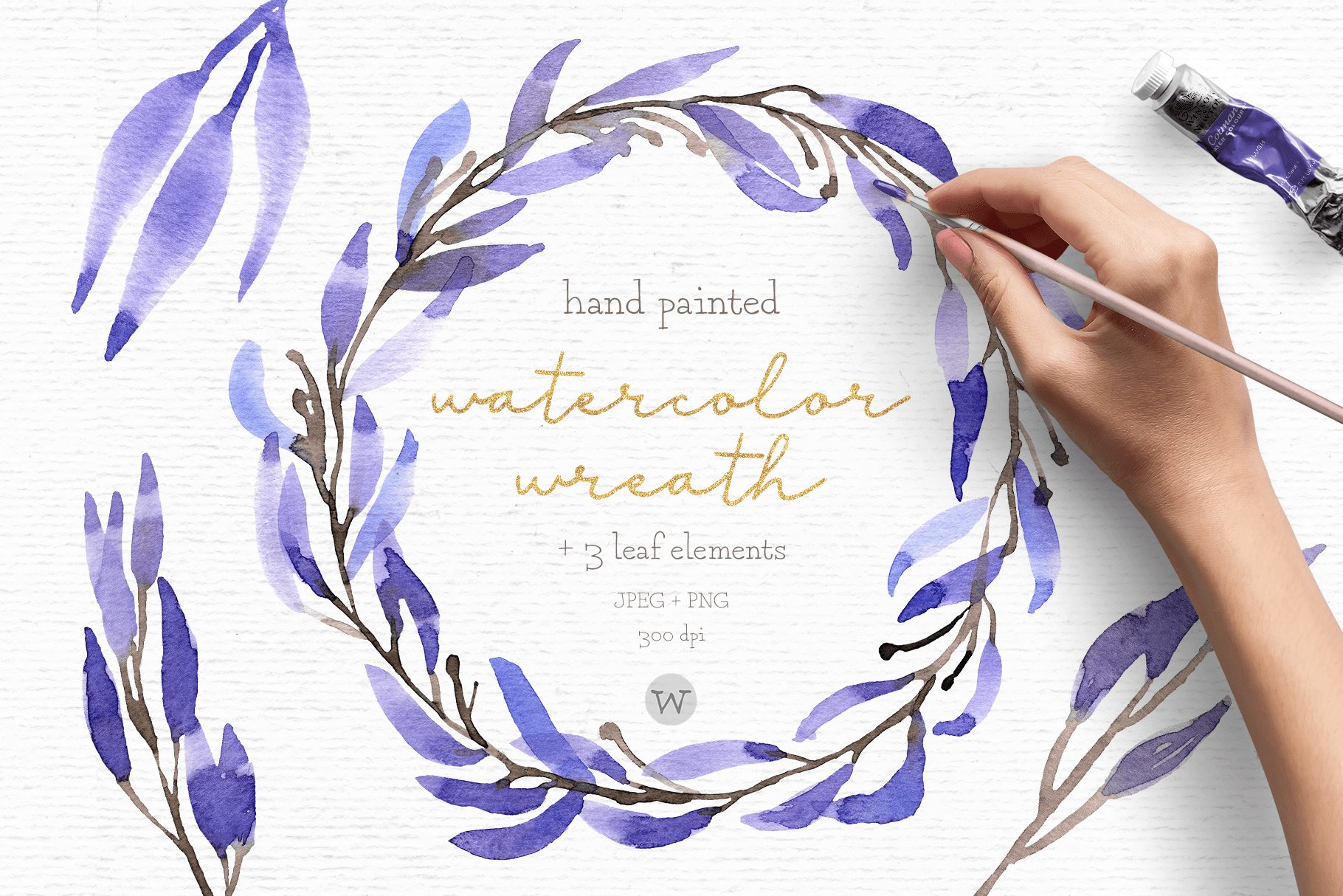 Watercolor wreath clipart
