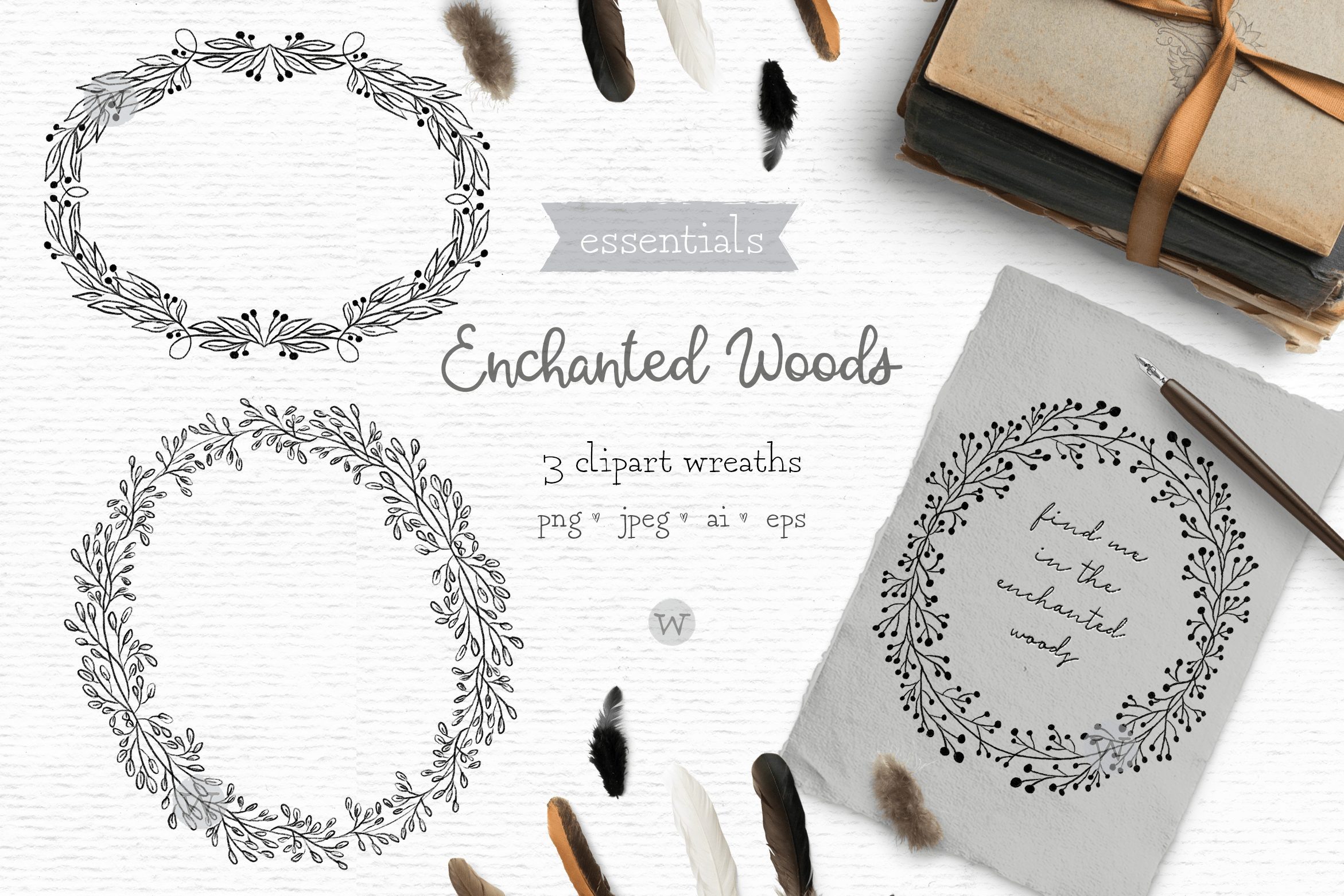 Black and white wreath clipart