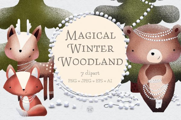 Scandinavian woodland animals clipart by Wallifyer