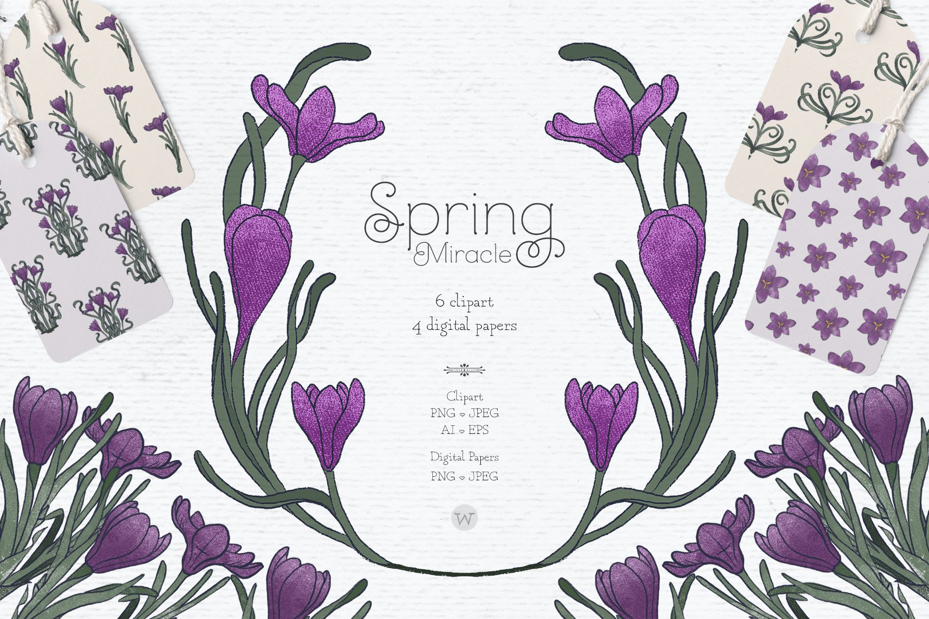 Hand-drawn clipart with vintage florals