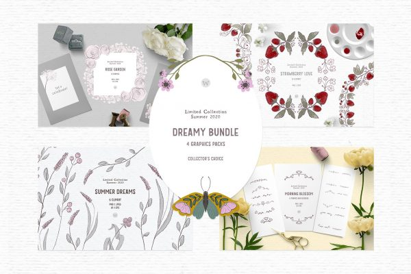 Hand drawn clipart with flowers